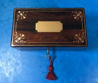 French Victorian Brass Inlaid Rosewood Ink Box (12 of 15)