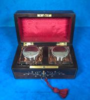 French Victorian Brass Inlaid Rosewood Ink Box (9 of 15)