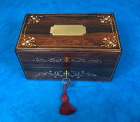 French Victorian Brass Inlaid Rosewood Ink Box (3 of 15)