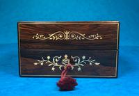 French Victorian Brass Inlaid Rosewood Ink Box (4 of 15)