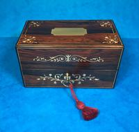 French Victorian Brass Inlaid Rosewood Ink Box (11 of 15)