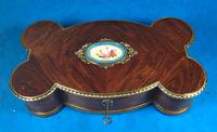 Victorian French Shaped Tulipwood Box with Porcelain Panel to the Top (12 of 15)