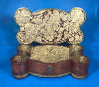 Victorian French Shaped Tulipwood Box with Porcelain Panel to the Top (7 of 15)