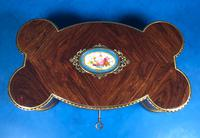 Victorian French Shaped Tulipwood Box with Porcelain Panel to the Top (11 of 15)