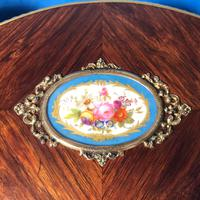 Victorian French Shaped Tulipwood Box with Porcelain Panel to the Top (14 of 15)