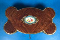 Victorian French Shaped Tulipwood Box with Porcelain Panel to the Top (10 of 15)