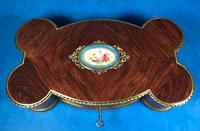 Victorian French Shaped Tulipwood Box with Porcelain Panel to the Top (13 of 15)