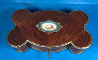 Victorian French Shaped Tulipwood Box with Porcelain Panel to the Top (9 of 15)