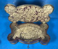 Victorian French Shaped Tulipwood Box with Porcelain Panel to the Top (8 of 15)