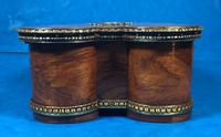 Victorian French Shaped Tulipwood Box with Porcelain Panel to the Top (5 of 15)