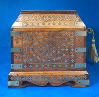 Indian Brass Inlaid Teak Box c.1920 (6 of 14)