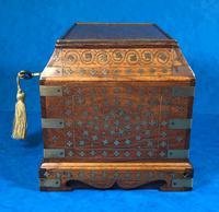 Indian Brass Inlaid Teak Box c.1920 (4 of 14)