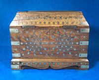 Indian Brass Inlaid Teak Box c.1920 (5 of 14)