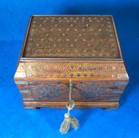 Indian Brass Inlaid Teak Box c.1920 (9 of 14)