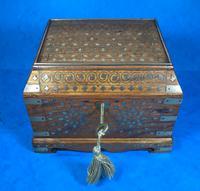 Indian Brass Inlaid Teak Box c.1920 (3 of 14)