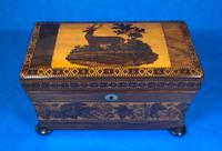 Victorian Rosewood Twin Tea Caddy with Tunbridge Ware Inlay (7 of 11)