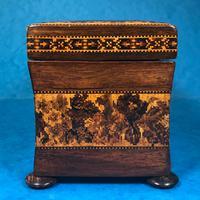 Victorian Rosewood Twin Tea Caddy with Tunbridge Ware Inlay (5 of 11)