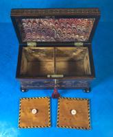 Victorian Rosewood Twin Tea Caddy with Tunbridge Ware Inlay (11 of 11)