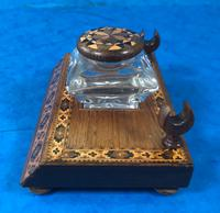 Victorian Pen & Ink Stand in Rosewood with Tunbridge Ware Inlay (6 of 15)