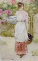 David Woodlock Watercolour 'Woman by a Cottage Gate'