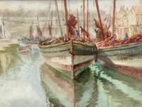 Thomas Clavering Alder Watercolour 'Harbour Scene'