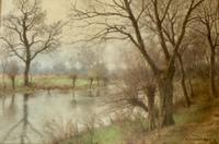 Erich Kubierschky Pastel 'River Bank View'