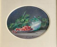 Blanche Odin Watercolour ' Still Life with Bowl of RAspberries'