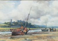George Hamilton Constantine  Watercolour 'Lancaster Castle From the River'