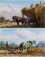 George Hamilton Constantine Pair of Watercolours 'Building the Rick and Companion'