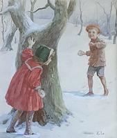 Eveline Lance Pair Watercolours 'Gee-Up '&'Christmas Time' (3 of 5)