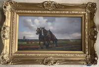 Geoffery Mortimer Oil Painting 'the plough team' (2 of 3)