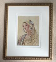 David Woodlock Watercolour 'Lady in a Headscarf' (2 of 2)