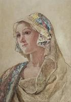 David Woodlock Watercolour 'Lady in a Headscarf'