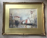 John Ernest  Aitken  Watercolour ' Showery Weather Chioggia' (2 of 3)