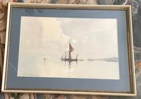 Edward Wesson Watercolour 'Boats in a Coastal Landscape' (2 of 3)