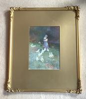 Thomas Mackay Watercolour ' the Goose Girl' (2 of 2)