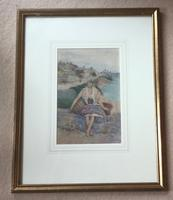 David Woodlock Watercolour 'Waiting For the Boats ,Staithes,Yorkshire' (2 of 3)
