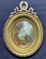 Exquisite 20th Century Miniature Swiss Landscape Oil - Superb Oval Brass Frame