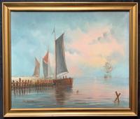 Superb - Dutch School - 20th Century - Vintage Gilt Framed Seascape Oil Painting