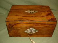 Inlaid Figured Walnut Jewellery - Table Box c.1870