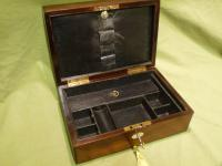 Unisex Inlaid Rosewood Jewellery Box. Makers Label c.1865