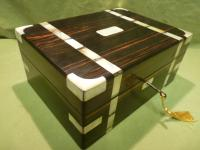 Unusual Fine Quality Inlaid Coromandel Jewellery Box + Tray c.1880