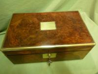 Brass Bound Burr Writing Box. Secret Drawers + More. C1870 (3 of 13)