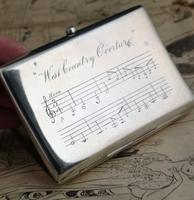 Antique Silver Cigarette Case, Victorian Sterling Silver Cigarette Case, Musical Staves, Gilt Lined, West Country Overture