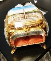 French Antique Jewellery Casket, Ormolu & Satin Jewelry Casket, Paris Scene