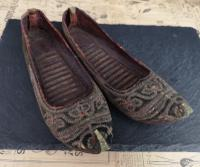 Antique Persian Slippers, 19th Century Shoes