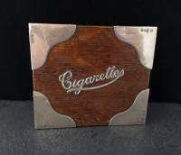 Antique Oak & Silver Cigarette Box