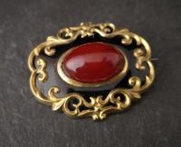 Antique Victorian Gilt & Black Enamel Brooch