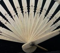 Antique Victorian Bone Hand Fan, Hand Painted (3 of 12)