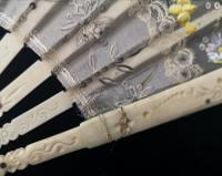 Antique Victorian Bone Hand Fan, Hand Painted (5 of 12)